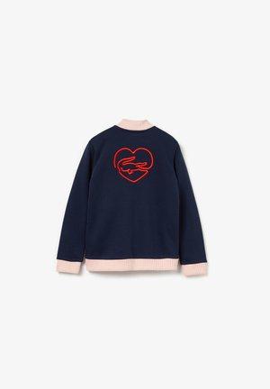 SJ5039 - veste en sweat zippée - bleu marine / rose pale / rouge