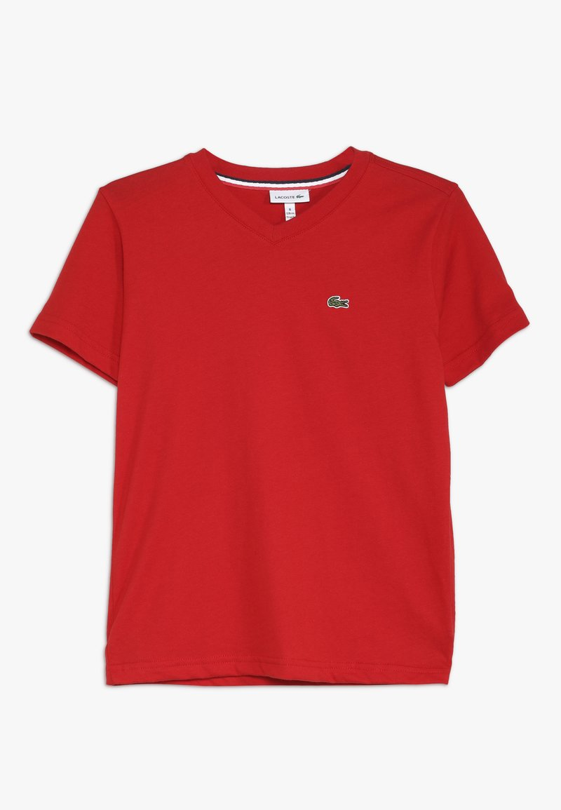 Lacoste - BOY V-NECK TEE - T-shirt basic - red
