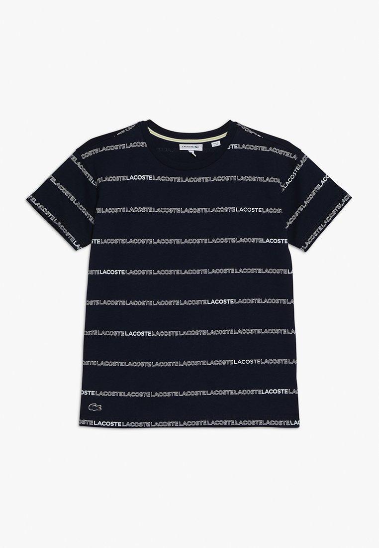 Lacoste - BOY TEE - T-shirt print - navy blue/white