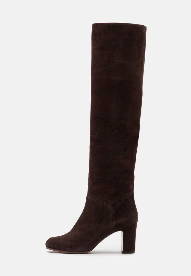 NO ZIP - Overknee laarzen - dark brown