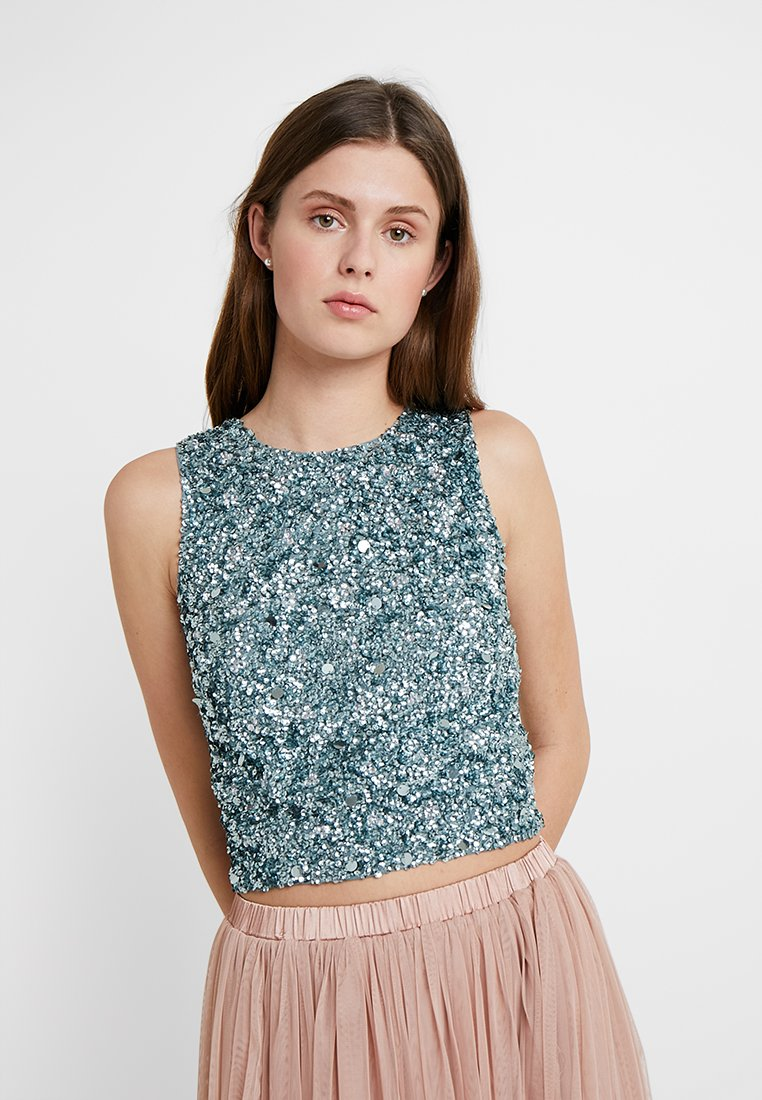 Lace & Beads Tall - PICASSO - Blouse - teal grey