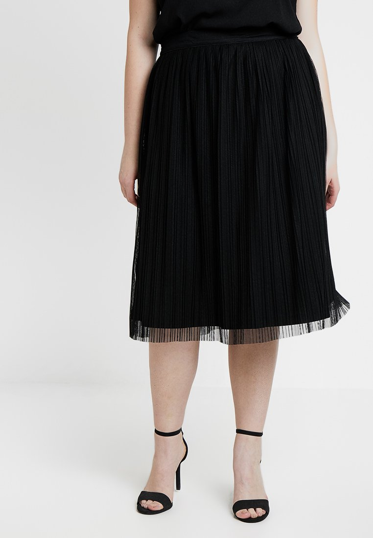 Lace & Beads Curvy - EXCLUSIVE KIMBERLY PLETED MIDI SKIRT - A-linjainen hame - black