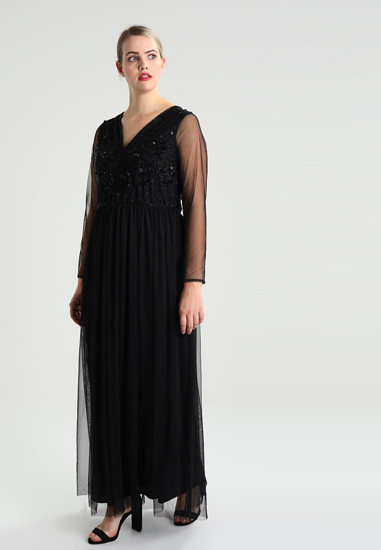 Lace & Beads Curvy - V NECK DRESS - Occasion wear - black