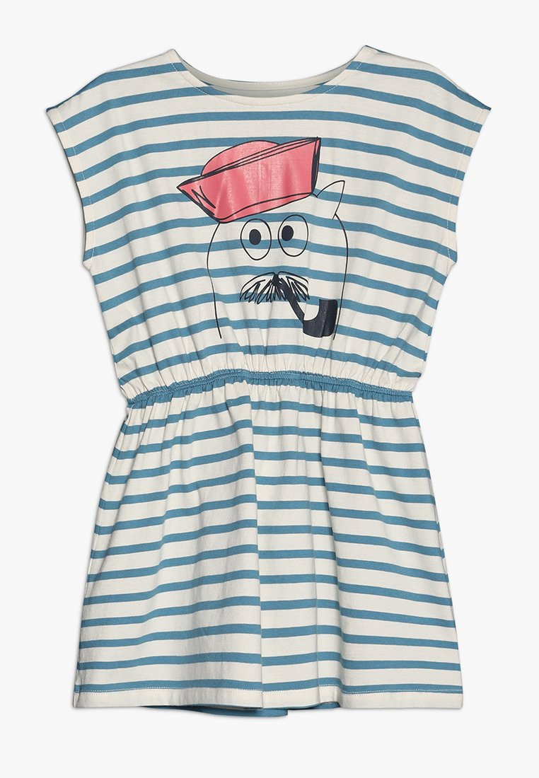 La Queue du Chat - OCEAN STRIPED DRESS - Jersey dress - cloud cream/adriatic blue