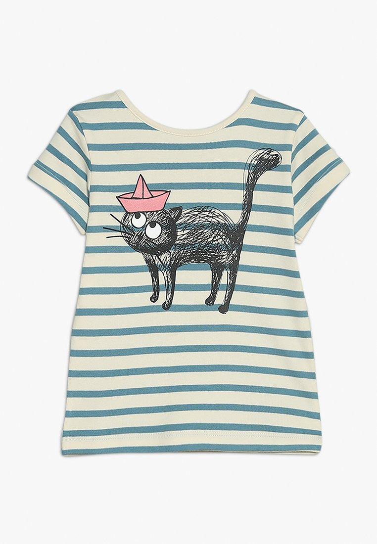 La Queue du Chat - STRIPES - Print T-shirt - cloud cream/adriatic blue