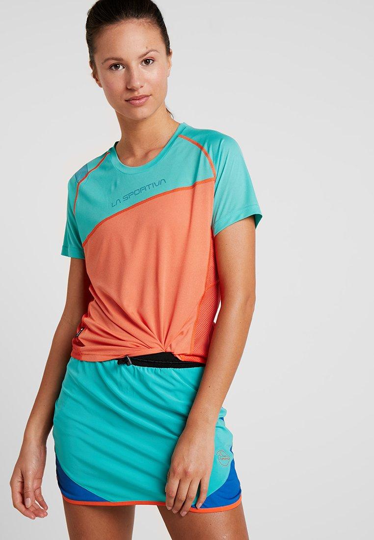La Sportiva - CATCH - T-Shirt print - orange/aqua