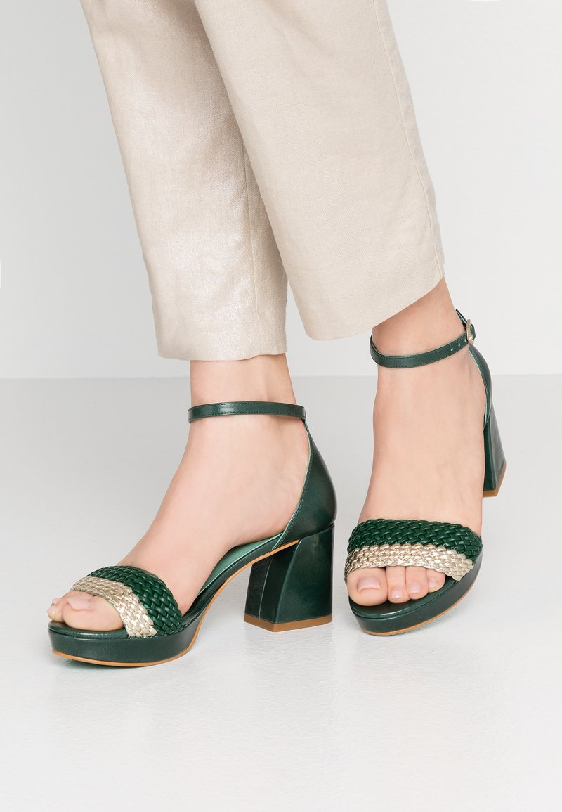 LAB - Plateausandalette - verde/platino