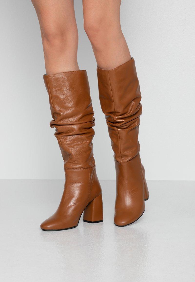 LAB - High heeled boots - cognac