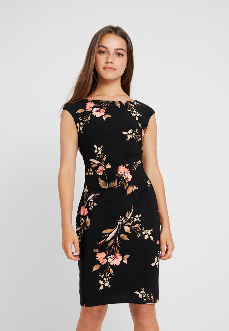 Lauren Ralph Lauren Petite - NOVELLINA CAP SLEEVE DAY DRESS - Fodralklänning - black/pink/multi