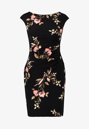 NOVELLINA CAP SLEEVE DAY DRESS - Etuikjole - black/pink/multi