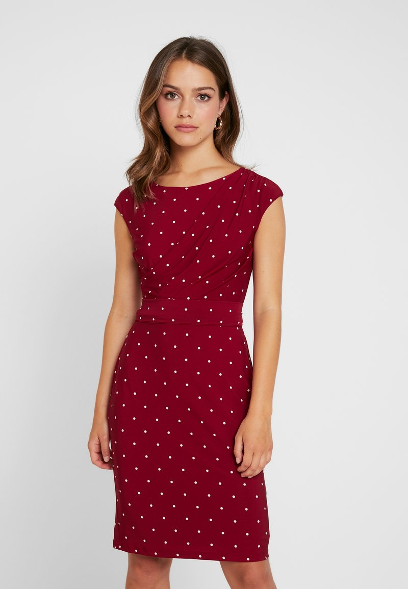 Lauren Ralph Lauren Petite - VIMAJA SHORT SLEEVE DAY DRESS - Shift dress - vibrant garnet/colonial cream