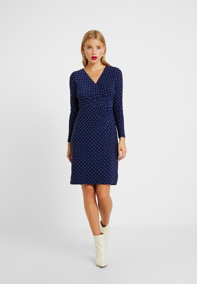 Lauren Ralph Lauren Petite - NEMOTA LONG SLEEVE DAY DRESS - Shift dress - dutch blue/colonial cream