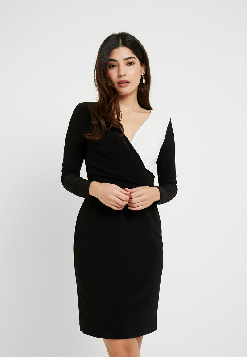 Lauren Ralph Lauren Petite - ALEXIE LONG SLEEVE DAY DRESS - Fodralklänning - black/white