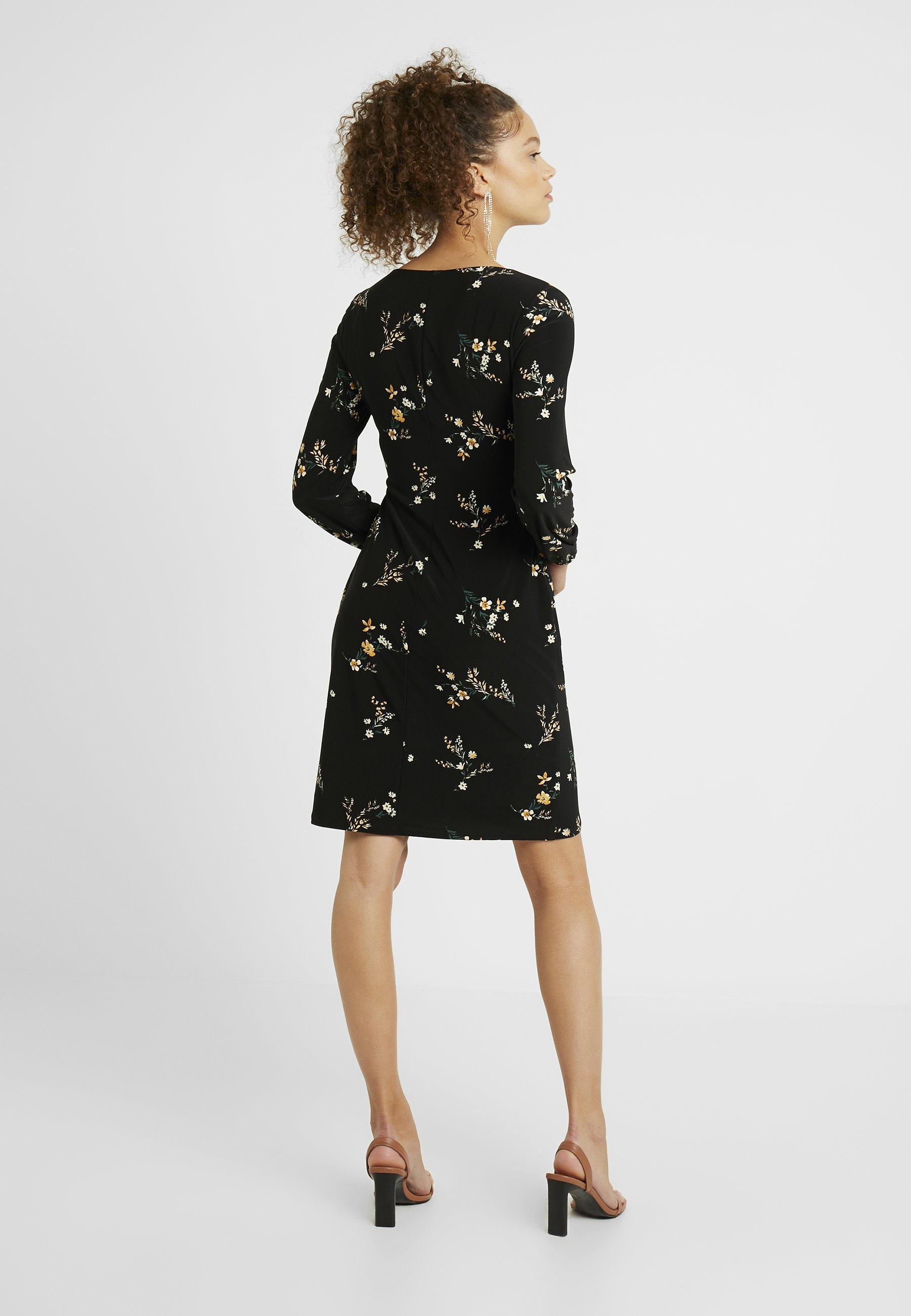 Lauren Ralph Lauren Petite JONI LONG SLEEVE DAY DRESS - Jerseyklänning - black/gold ochre/multi
