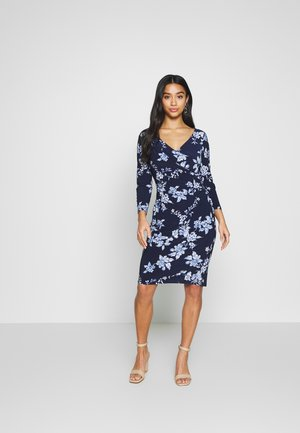 ANDEE ELBOW SLEEVE DAY DRESS - Shift dress - navy/french blue/ cream