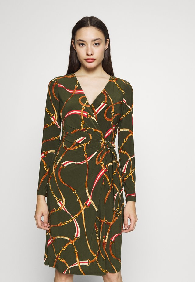 CASONDRA LONG SLEEVE DAY DRESS - Vapaa-ajan mekko - oliva/red/multi