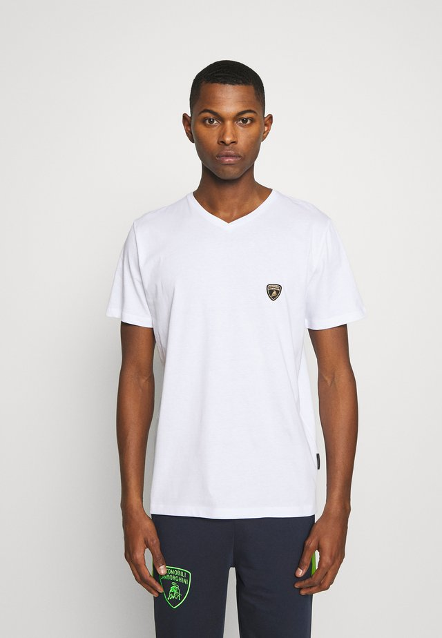 VNECK SHIELD - Print T-shirt - white