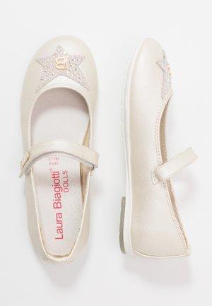Ankle strap ballet pumps - ivory