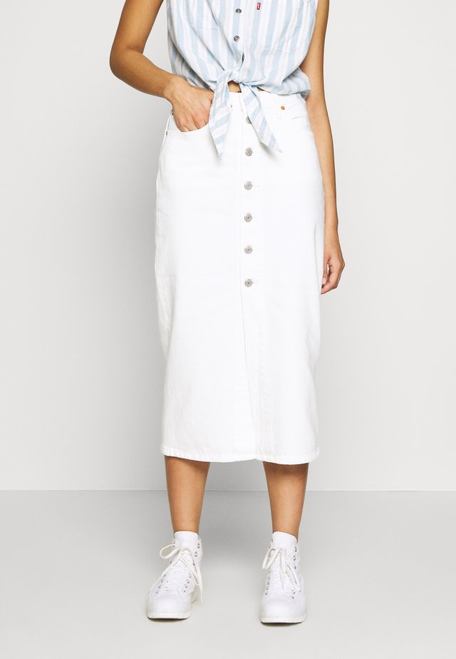 BUTTON FRONT MIDI SKIRT - Pennkjol - white cell