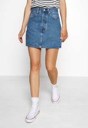 RIBCAGE SKIRT - Falda vaquera - blue denim