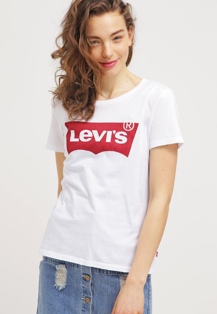 Levi's® - THE PERFECT - T-shirt z nadrukiem - woodgrain batwing/white