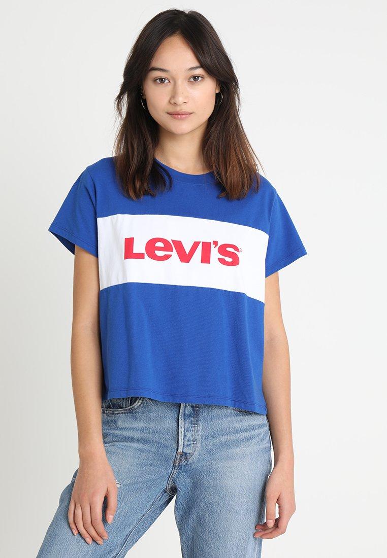 Levi's® - GRAPHIC VARSITY TEE - Print T-shirt - surf blue/white