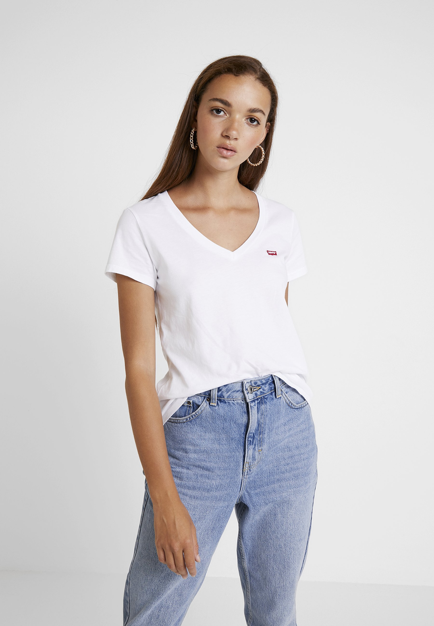 Levi's® PERFECT V NECK - T-shirt z nadrukiem - white
