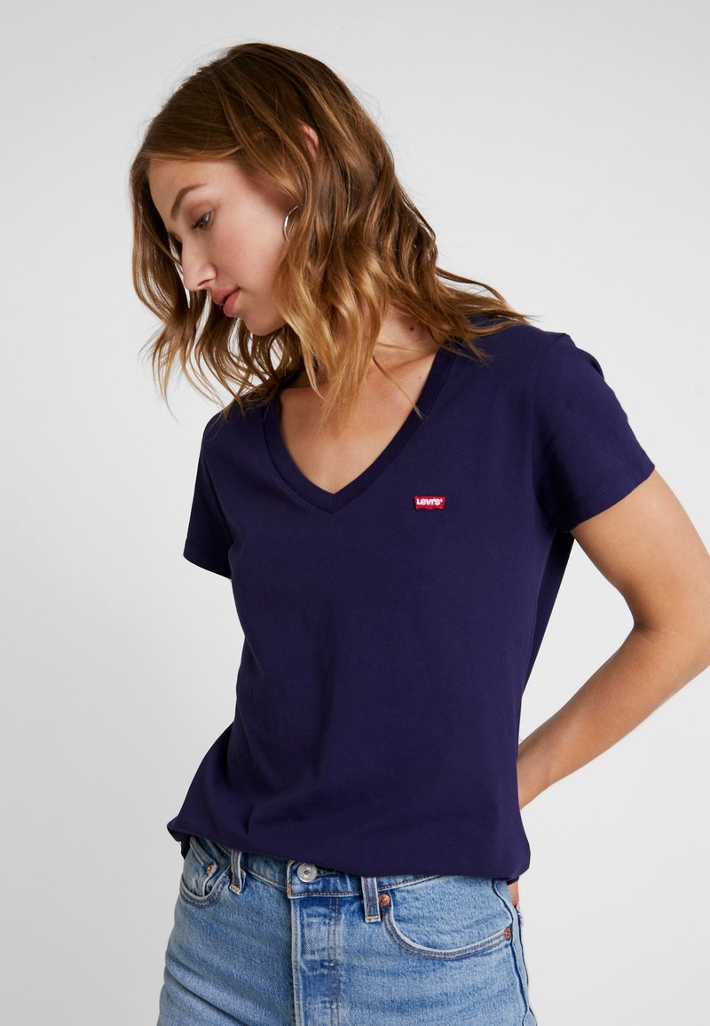 Levi's® - PERFECT V NECK - Triko s potiskem - sea captain blue