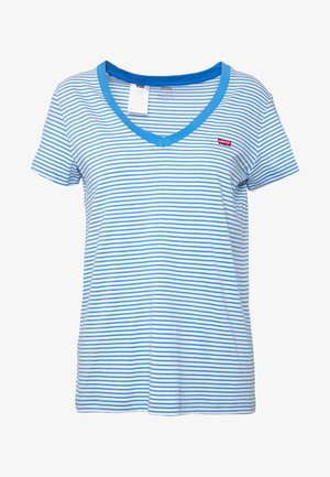PERFECT V NECK - T-shirt z nadrukiem - light blue, white