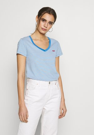 PERFECT V NECK - Triko s potiskem - light blue, white