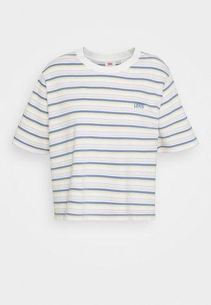 BOXY TEE - T-shirt z nadrukiem - off-white/purple
