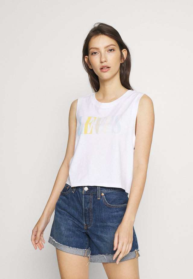 GRAPHIC CROP TANK - Top -  serif tank white