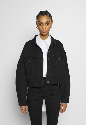 PLEAT SLEEVE TRUCKER - Denim jacket - black denim