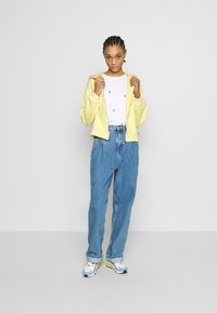 Levi's® - GRAPHIC ZIP SKATE HOODIE - Hettejakke - crop zip hoodie cali box tab garment dye pale banana - 1