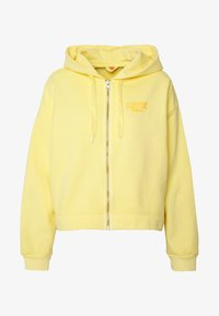 crop zip hoodie cali box tab garment dye pale banana