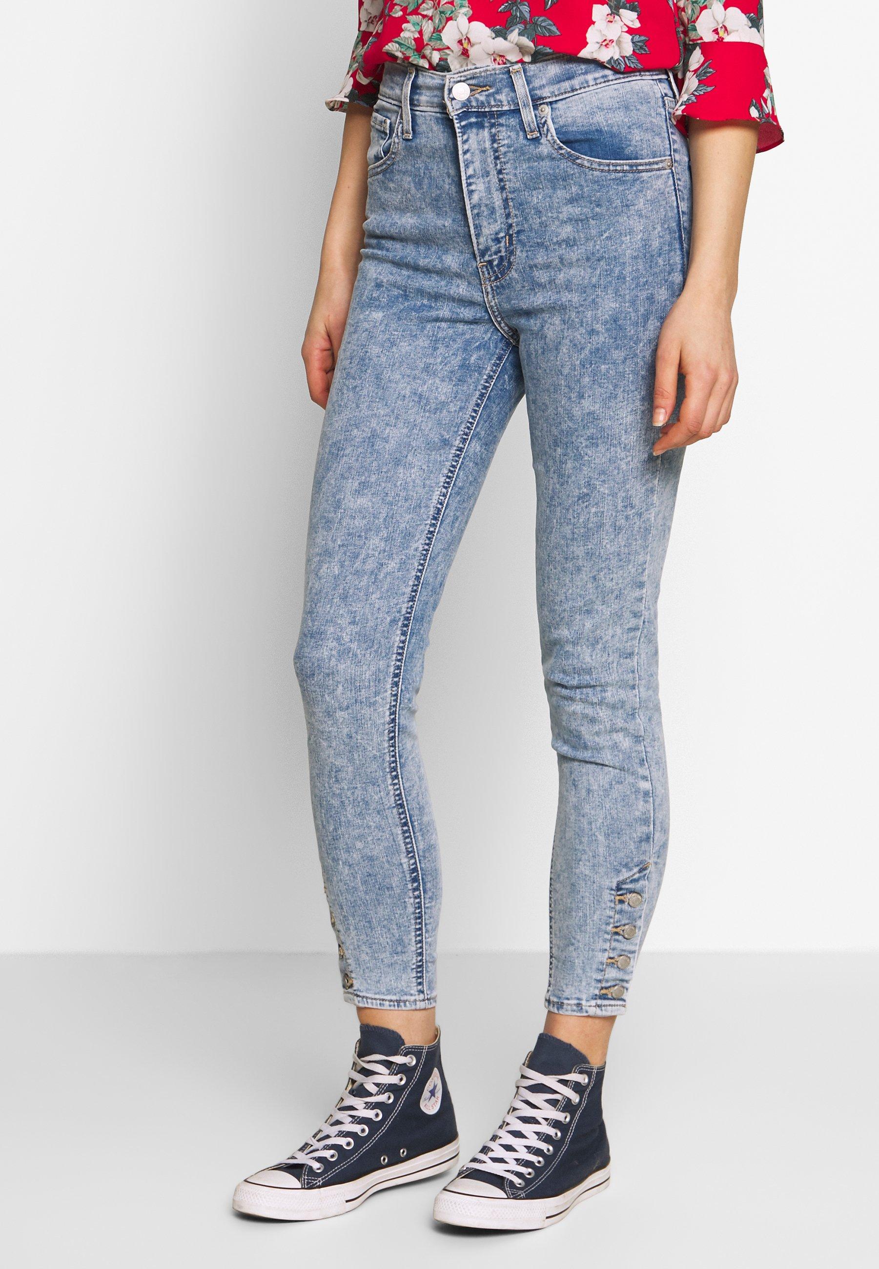 Levi's® MILE HIGH ANK BUTTON HEM - Jeansy Skinny Fit - light blue denim
