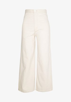 WELLTHREAD RIBCAGE CROP WIDE - Flared jeans - BREAKING WAVE ECRU HEMP B W