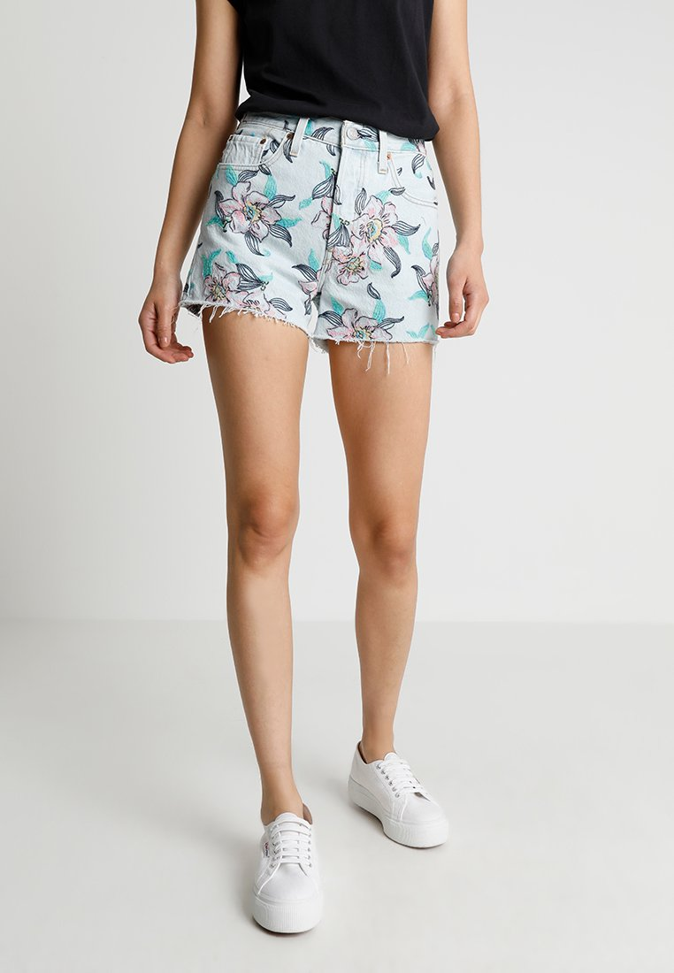 Levi's® - 501 HIGH RISE - Denim shorts - light blue