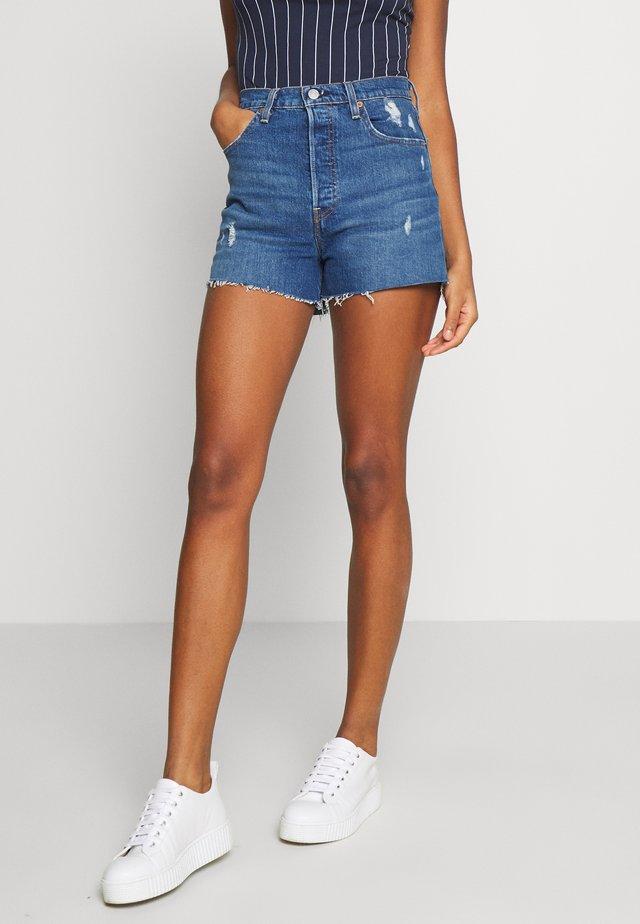 RIBCAGE SHORT - Shorts vaqueros - blue