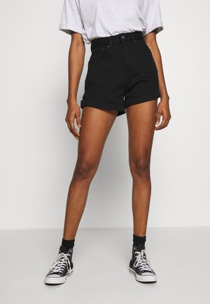 MOM A LINE SHORT - Denim shorts - flash black