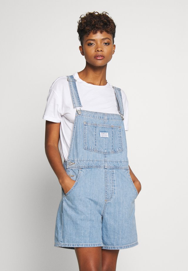 VINTAGE SHORTALL - Hängselbyxor - light-blue denim
