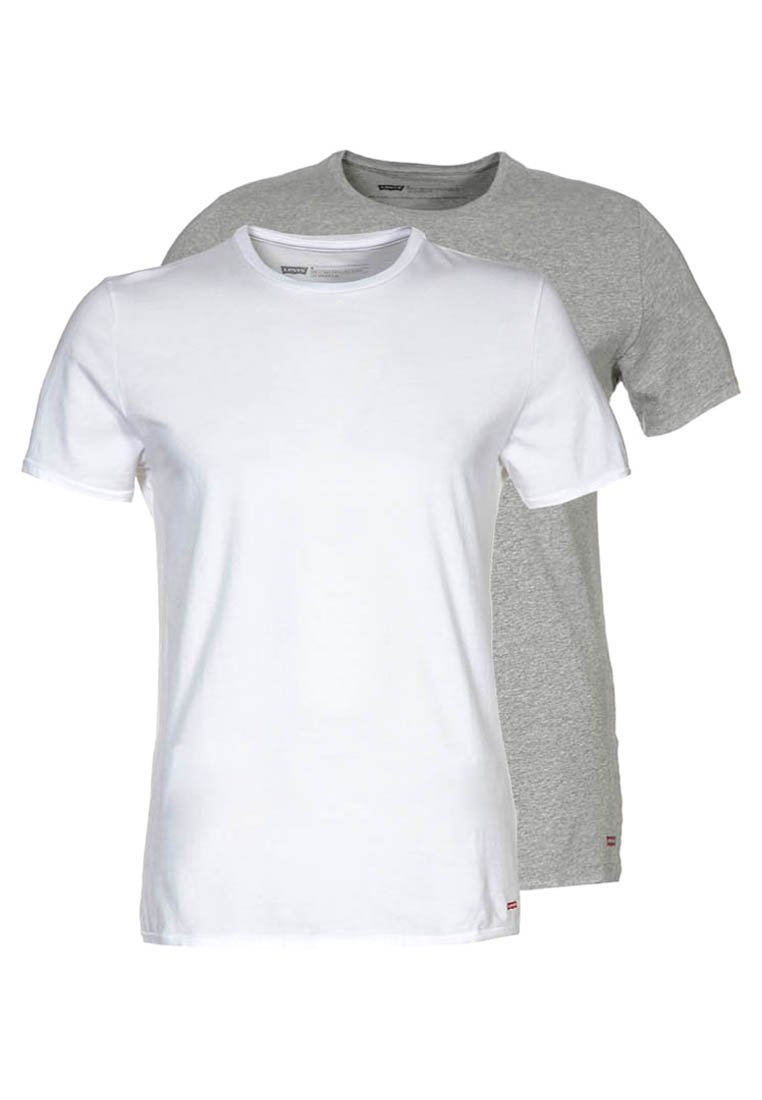 Levi's® - SLIM FIT 2 PACK  - T-shirts basic - mid mele/white