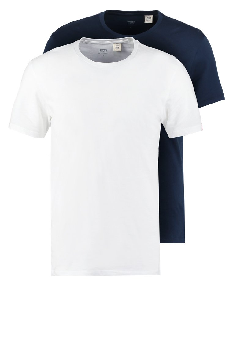 Levi's® - SLIM FIT 2 PACK  - T-shirt - bas - navy/white