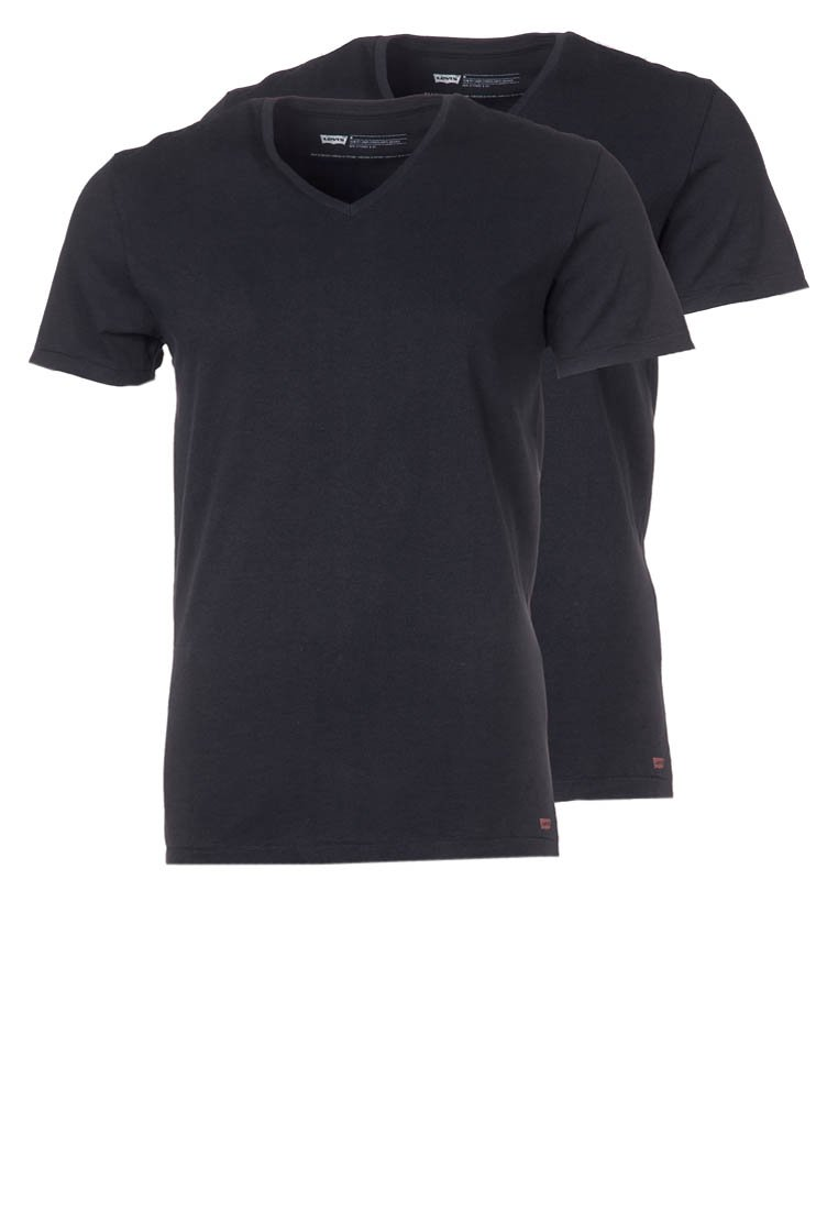 Levi's® - NECK TEE SLIM FIT 2 PACK - T-shirt - bas - black