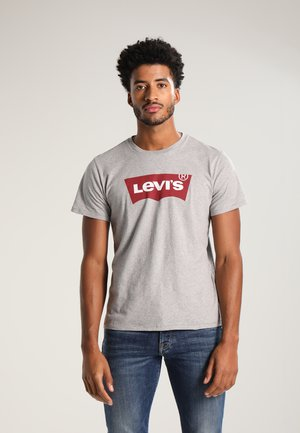 GRAPHIC SET-IN NECK - Print T-shirt - midtone grey