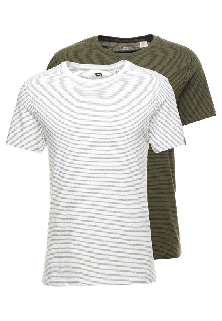 Levi's® - SLIM 2 PACK CREW TEE - Print T-shirt - khaki/white
