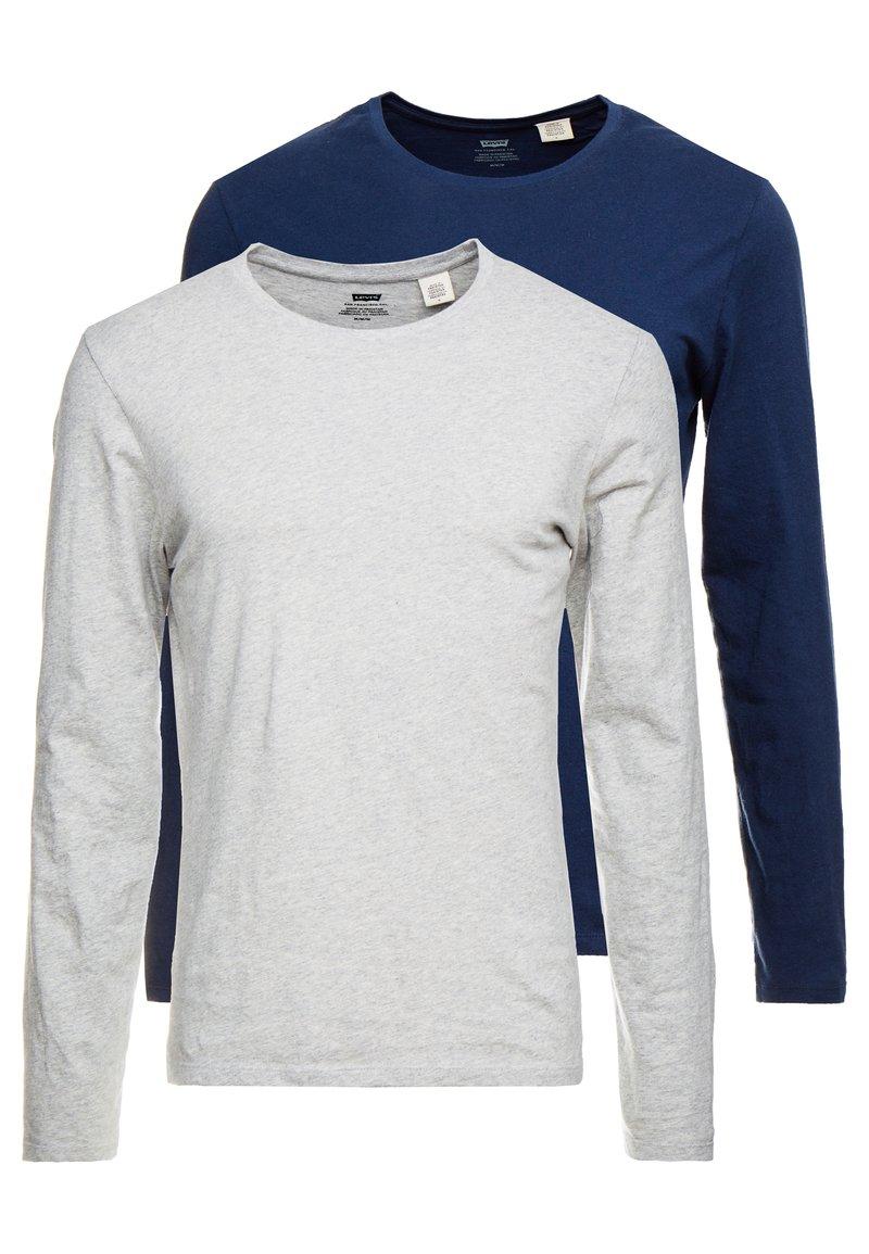Levi's® - SLIM CREWNECK 2 PACK - Topper langermet - dress blues/ med grey heather