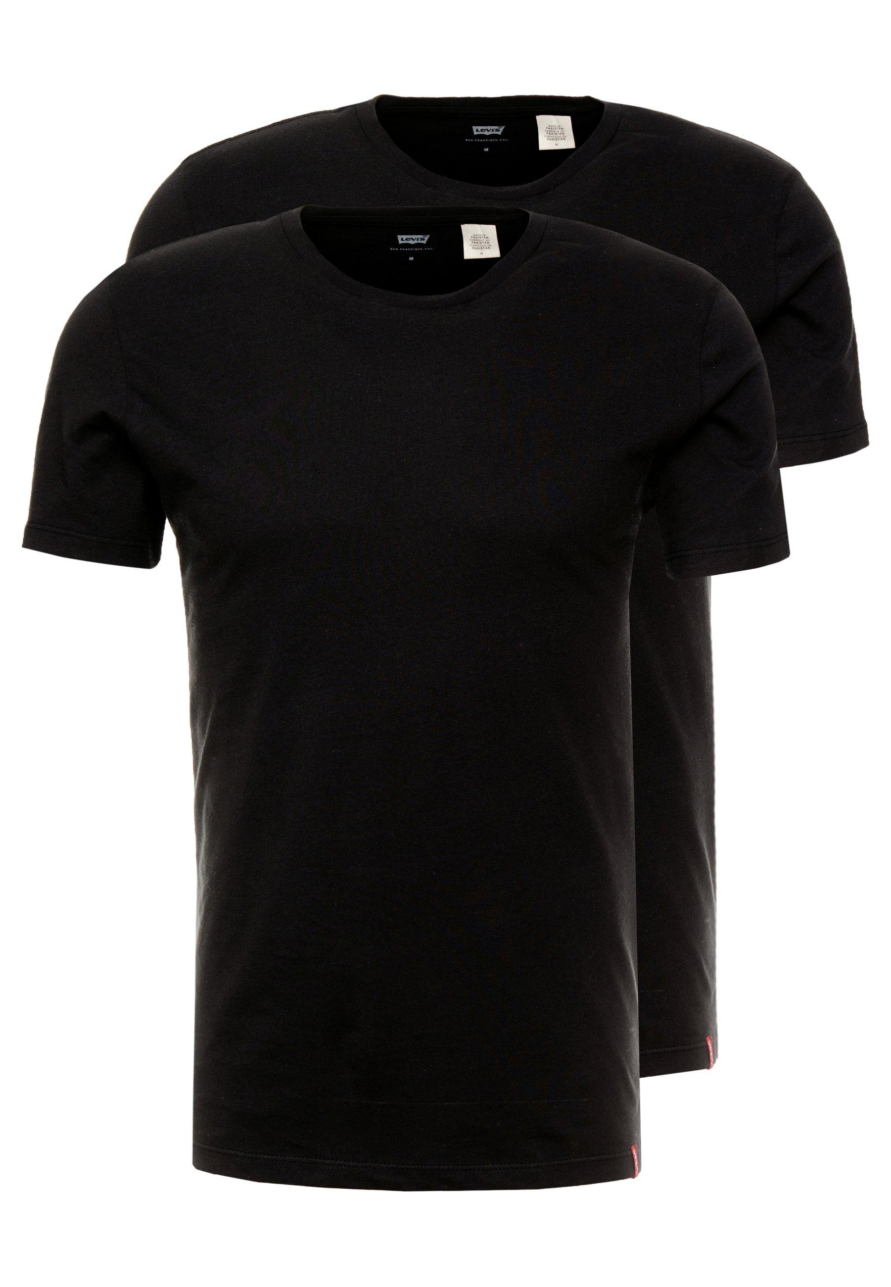 Levi's® SLIM CREWNECK 2 PACK - T-shirt basic - black