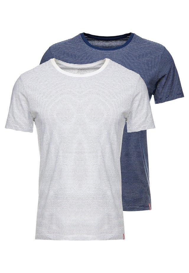 CREWNECK 2 PACK - T-shirt print - white/dark blue