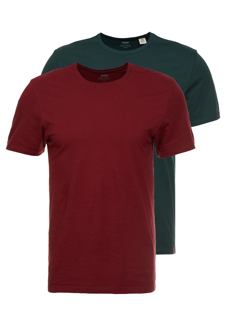 Levi's® - CREWNECK 2 PACK - Camiseta estampada - pine grove/warm cabernet